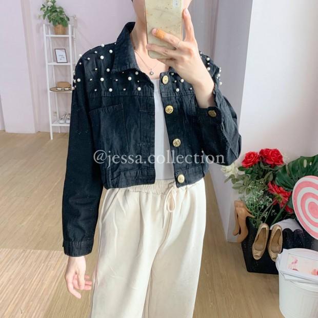 Pocket Pearls Jacket BLACK